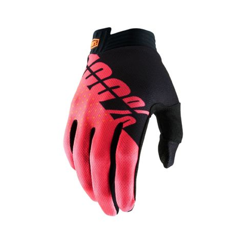 iTRACK 100% Glove Black/Fluo Red